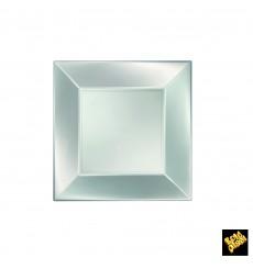 Piatto Plastica Piano Argento Nice Pearl PP 180mm (300 Pezzi)