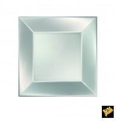 Piatto Plastica Piano Argento Nice Pearl PP 230mm (300 Pezzi)