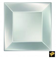 Piatto Plastica Piano Argento Nice Pearl PP 290mm (12 Pezzi)