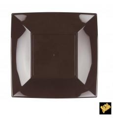 Piatto Plastica Piano Marrone Nice PP 230mm (25 Pezzi)