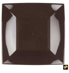 Piatto Plastica Piano Marrone Nice PP 290mm (12 Pezzi)