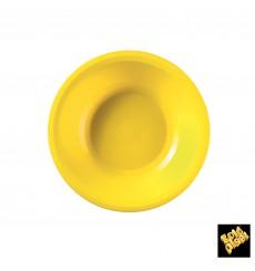 Piatto di Plastica Fondo Giallo Round PP Ø195mm (50 Pezzi)