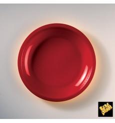 Piatto Plastica Piano Rosso Round PP Ø220mm (50 Pezzi)