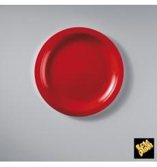 Piatto Plastica Piano Rosso Round PP Ø185mm (50 Pezzi)