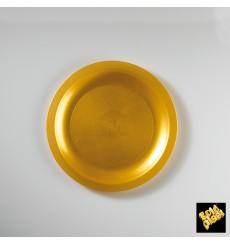 Piatto Plastica Piano Oro Round PP Ø185mm (25 Pezzi)