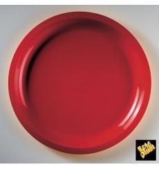 Piatto di Plastica Rosso Round PP Ø290mm (25 Pezzi)