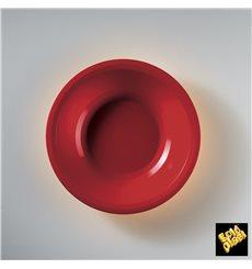 Piatto di Plastica Fondo Rosso Round PP Ø195mm (50 Pezzi)