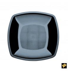 Piatto Plastica Piano Nero Square PS 230mm (25 Pezzi)