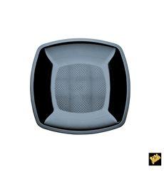 Piatto Plastica Piano Nero Square PS 180mm (300 Pezzi)