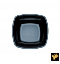 Piatto Plastica Fondo Nero Square PS 180mm (25 Pezzi)