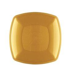 Piatto Plastica Piano Oro Square PP 230mm (12 Pezzi)
