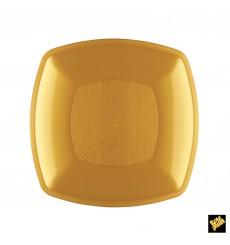 Piatto Plastica Piano Oro Square PP 180mm (300 Pezzi)