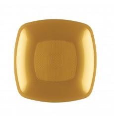 Piatto Plastica Fondo Oro Square PP 180mm (12 Pezzi)