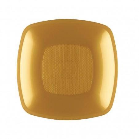 Piatto Plastica Fondo Oro 180mm (144 Pezzi)
