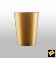 Bicchiere di Plastica Moon Oro PS 320ml (20 Pezzi)