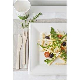 Piatto Quadratto Canna Zucchero Bianco 150x150mm (50 Pezzi)