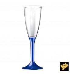 Calice Plastica Flute Gambo Blu Perlato 120ml 2P (20 Pezzi)