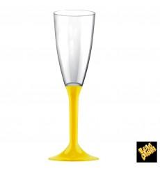 Calice Plastica Flute Gambo Giallo 120ml 2P (20 Pezzi)