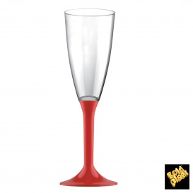 Calice Plastica Flute Gambo Red 120ml 2P (20 Pezzi)