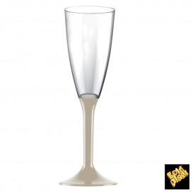 Calice Plastica Flute Gambo Beige 120ml 2P (200 Pezzi)