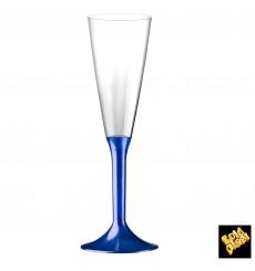 Calice Plastica Flute Gambo Blu Perlato 160ml 2P (20 Pezzi)