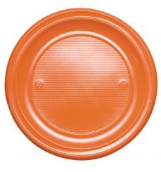 Piatto di Plastica Piano Arancione PS 220mm (30 Pezzi)