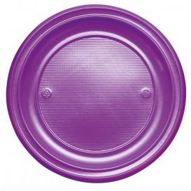 Piatto di Plastica Piano Viola PS 220mm (30 Pezzi)