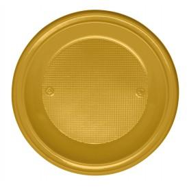 Piatto di Plastica PS Piano Oro Ø220mm (30 Pezzi)