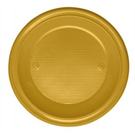 Piatto di Plastica PS Fondo Oro Ø220mm (30 Pezzi)