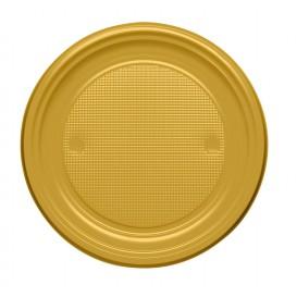 Piatto di Plastica PS Piano Oro Ø170mm (50 Pezzi)