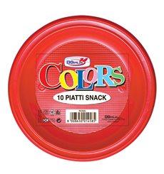 Piatto di Plastica PS Piano Rosso Ø280mm (140 Pezzi)