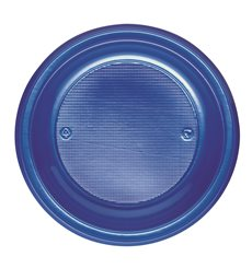 Piatto di Plastica PS Fondo Blu Scuro Ø220mm (30 Pezzi)