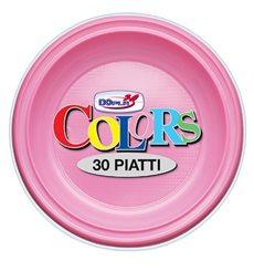 Piatto di Plastica PS Fondo Rosa Ø220mm (30 Pezzi)