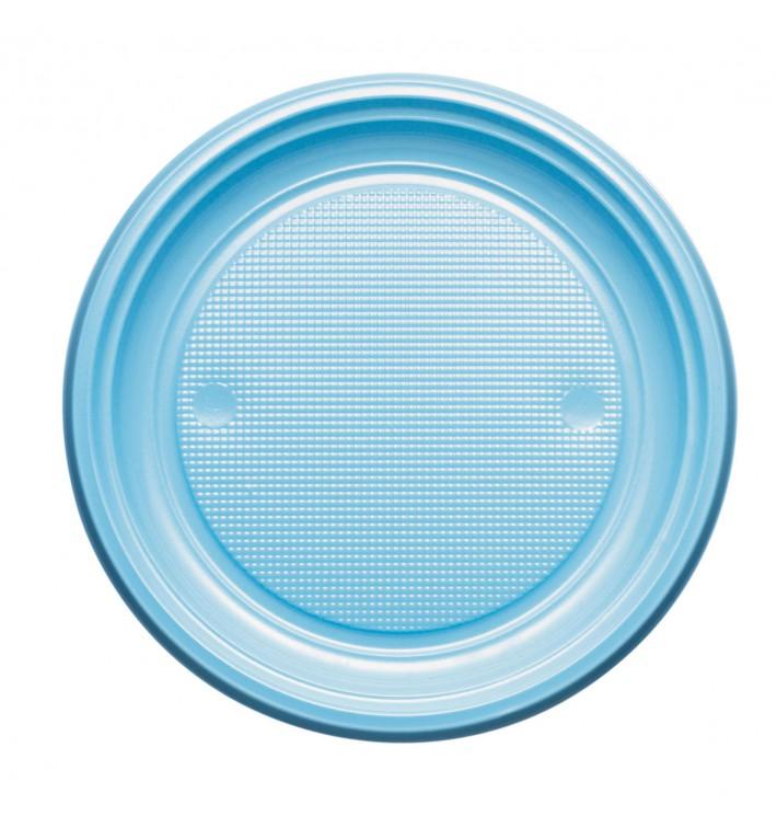 Piatto di Plastica PS Piano Azzurro Ø170mm (50 Pezzi)