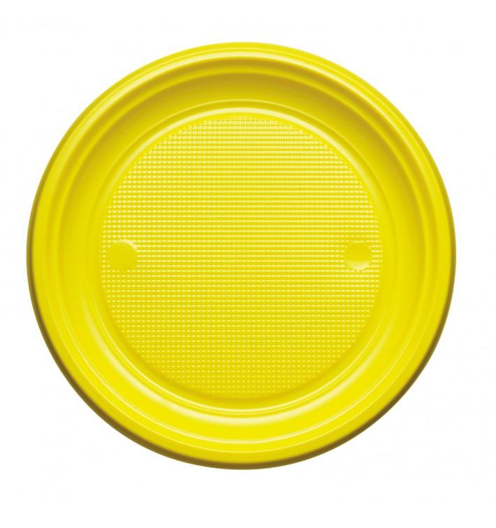 Piatto di Plastica PS Piano Giallo Ø170mm (50 Pezzi)