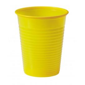 Bicchiere di Plastica PS Giallo 200ml Ø7cm (50 Pezzi)