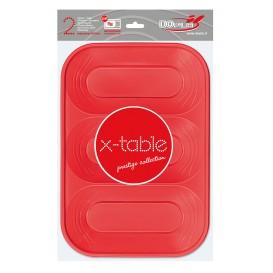 """Vassoio di Plastica """"X-Table"""" 3C Rosso PP 330x230mm (2 Pezzi)"""
