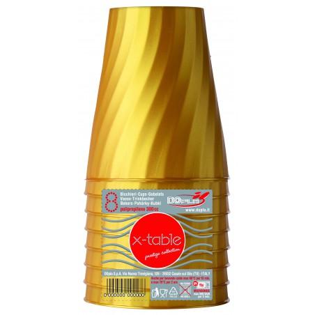Bicchiere di Plastica Oro PP 320ml (128 Pezzi)