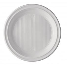 Piatto di Plastica Piano Bianco 205 mm (25 Pezzi)