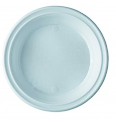 Piatto di Plastica Piano Bianco 205 mm (100 Pezzi)
