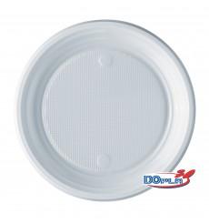 Piatto di Plastica PS Piano Bianco 170mm (100 Pezzi)