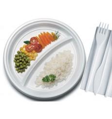 Piatto di Plastica Bianco PS 220 mm (100 Pezzi)