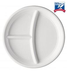 Piatto di Plastica PS 3 Scomparti Bianco 220mm (1400 Pezzi)