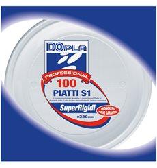 Piatto di Plastica PS 1 Scomparto Bianco 220mm (100 Pezzi)