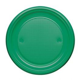 Piatto di Plastica Piano Verde PS Ø220mm (780 Pezzi)