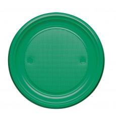 Piatto di Plastica Piano Verde PS Ø220mm (30 Pezzi)