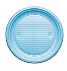 Piatto di Plastica Piano Azzurro PS Ø220mm (30 Pezzi)