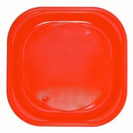 Piatto di Plastica PS Piazza Piano Arancione 200x200mm (30 Pezzi)