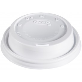 """Coperchio di plastica PS """"Cappuccino"""" Bianco Ø8,1cm (100 Pezzi)"""