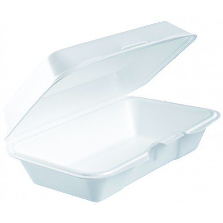 Contenitori EPS Lunchbox Coperchio Rimovible Bianco 225x140mm (250 Pezzi)